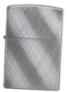 Zippo Lighter Brushed Chrome with Diagonal Weave Design Orange Seal Intact