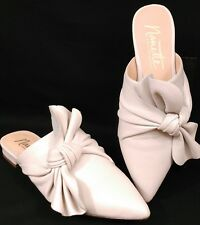 Nanette Lepore Flats Slides Shoes Womens Size 6 Bone White Pointed Toe Side Bow