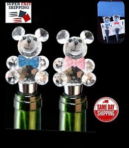 Crystal Bear Stainless Steel Decorative Wine and Beverage Bottle Cork Stopper US