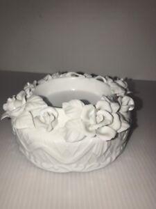 "Capodimonte Style Pillar Candle Holder White Wedding Roses Porcelain 6"" Diameter"