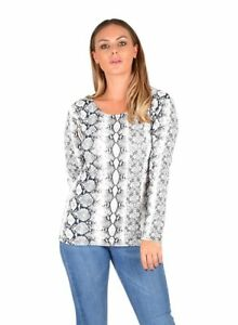 New Women's Ladies Snake Print Long Sleeve Scoop Neck Top T-Shirt Size 8-22