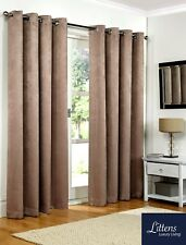 Luxury Soft Heavy Embossed Thermal Blackout Eyelet Ring Top Lined Pair Curtains
