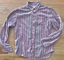 Obey Propaganda Red & Navy Striped Flannel Button Down Shirt - M