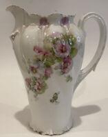 RS Prussia Chocolate Pot Purple Floral Pansies Coffee Tea Antique Porcelain