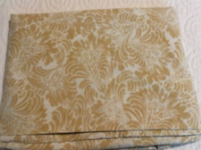 POTTERY BARN Gold and White Damask Flat Sheet KING PERCALE
