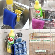 Stainless Steel Sponge Holder Sink Caddy Kitchen Brush Soap Drainer Rack Tool