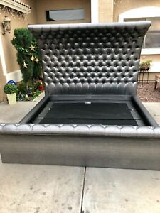 FULL Upholstered Platform Bed Wooden With Slat Support Head and Footboard