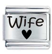 WIFE HEART * DAISY CHARM Etched Fits Nomination Classic Size Italian Charm