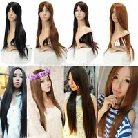 """WOMENS LADIES 27"""" FULL LONG FANCY DRESS WIGS STRAIGHT COSPLAY COSTUME HOME PARTY"""