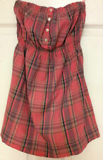 New Look ladies blouse size 10 strapless empire waist pink plaid Y8