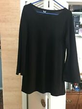 Women'S Xl Black Tunic Sweater With Long Bell Sleeves