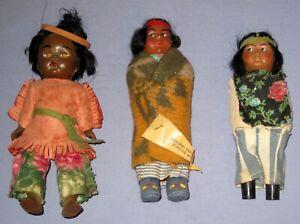 "VTG/Antique Lot 3 Native American Indian Dolls 6"" - 7 1/2"" Straw/Blanket/Leather"
