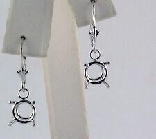 1 Carat TW 4 Prong Dangle Stud Earrings Mount 14K WHite Gold
