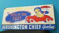 VINTAGE WASHINGTON GASOLINE PORCELAIN INDIAN CHIEF SERVICE STATION PUMP SIGN