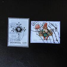 Lot de 2 timbres du Danemark année 2016 - encore sur fragment D69