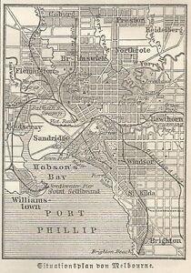 B0846 Australia - Melbourne - Basket Geographical Period - 1890 Vintage Map