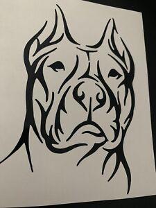 1x Staffy Pitbull Dog Vinyl Sticker Car Camper Van Bumper 4x6in Black A2