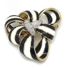 David Webb Diamond Black & White Enamel Ribbon Pin / Brooch - HM1903