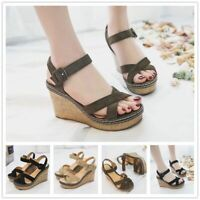 Women Sandals Suede Wedge Ankle Strap Open Toe Shoes Summer Fashion High Heels
