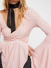 FREE PEOPLE WE THE FREE PINK BELL SLEEVE WHAT A BABE PRINTED POLKA DOT TOP Sz XS