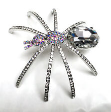 Butler and Wilson Clear  Crystal Spider Brooch LARGE NEW HALLOWEEN