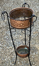 """Lovely Vintage 27"""" Tall Wrought Iron & Copper Umbrella / Plant Stand"""