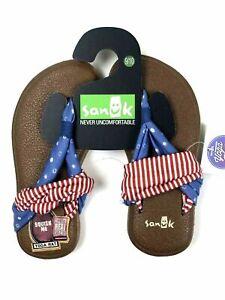 Sanuk Girls Red Blue American Patriot Dot And Stripe Yoga Sling Sandals 9/10 NEW