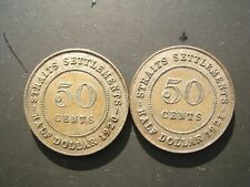 Straits Settlements - 50 Cents 1920 & 1921. Nice grades.