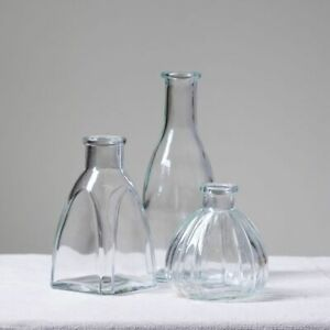 RETRO GLASS BUD VASES - SHABBY CHIC VINTAGE FLOWER VASES NAME HOLDER WEDDING UK