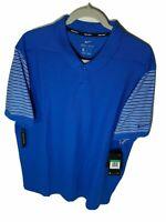 Nike Dri-Fit Polo Golf Shirt Sz L-XL Men's Blue & White Short Sleeve AQ7899-465