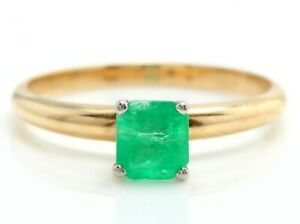 0.70 Carat Natural Emerald in 14K Solid Yellow Gold Women Solitaire Ring