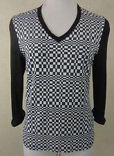 Karierte hüftlange 3/4 Arm Damenblusen, - tops & -shirts mit V-Ausschnitt