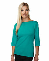 Tri-Mountain Women's Decorative Cuffs 3/4 Sleeve Boat Neck Knit T-Shirt. 139