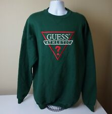 GUESS athletic vintage sweatshirt green embroidered logo XL asap rocky hip hop