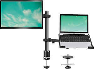 Monitor and Laptop Tray Desk Mount, Adjustable Laptop Monitor Mount Stand arm wi