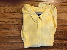 Men's Banana Republic Soft Wash Yellow & White Checked Button Shirt, Size XL