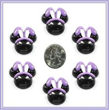 6PC  EASTER PURPLE MICKEY BUNNY EAR RESIN FLAT BACK FLATBACK RESINS