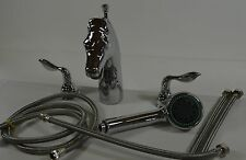 Stallion Horse Head Tub Faucet with Wand Bathroom Free Ship Any Deck Mount H64CL