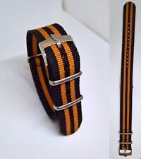 20mm NATO BOND cinturino nero arancio per orologio con fibbia Rolex