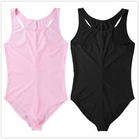 Men Sexy One-piece Sleeveless Smooth Bodysuit Leotard Tank Top Underwear Tights