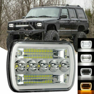 1X 5X7 500W LED Headlight  DRL For 86-95 Jeep Wrangler YJ 84-01 Cherokee XJ