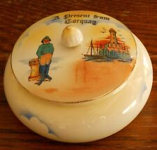 A victorian / Edwardian Present from Torquay souvenir Lidded pottery box