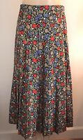 BURBERRY LONDON SILK PLEATED SKIRT MULTI FLORAL PRINT SZ 12 EUC