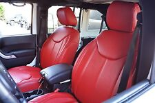2011-2015 Jeep Wrangler JK  4DR Red Seat Covers Syn Leather Custom Overlay