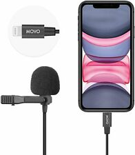 Movo iLav Digital Lightning Lavalier Clip-on Microphone for iPhone, iPad, Phone