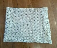 "VINTAGE HAND CROCHET ECRU BEIGE TABLECLOTH COVERLET BED SPREAD THROW 83"" x 60"""