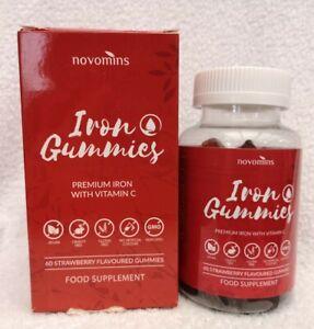 Novomins Iron Gummies with Vitamin C x60 Strawberry Flavoured Gummies Exp 11/21