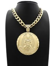 """HIP HOP GOLD PLATED 2PAC EUPHANASIA PENDANT & 11mm 20"""" CUBAN CHAIN NECKLACE"""