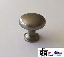 5 Pack Solid Brushed Nickel Cabinet Drawer Round Mushroom Knob Pull 1 1/4""