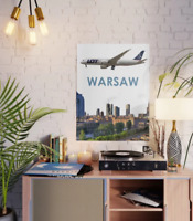 """LOT Polish Airlines Boeing 787 over Warsaw Art - 18"""" x 24"""" Poster"""